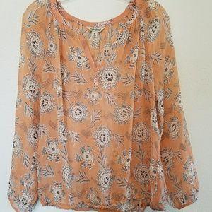 Lucky brand peach sheer boho chic blouse size med